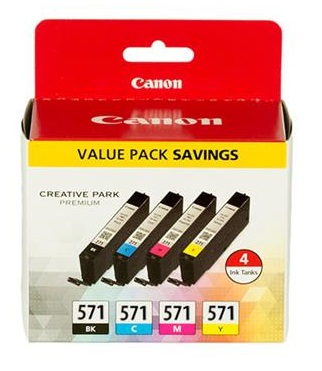 Canon Original CLI-571 Multipack of 4 Ink Cartridges (Black/Cyan/Magenta/Yellow)
