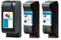 Remanufactured HP 23 (C1823D) High Capacity Colour 38ml and 2 x Remanufactured HP 45 (51645AE) High Capacity Black 45ml Ink Cartridges