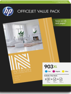 HP Original 903XL Combo Value Pack Cyan/Yellow/Magenta Ink + 50 x A4 Photo Paper (1CC20AE)