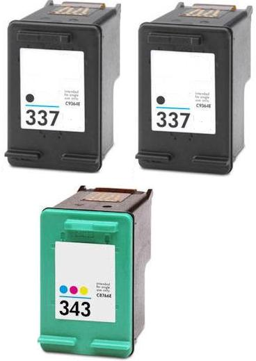 Remanufactured HP 337 Black and HP 343 Colour Ink Cartridges + EXTRA BLACK