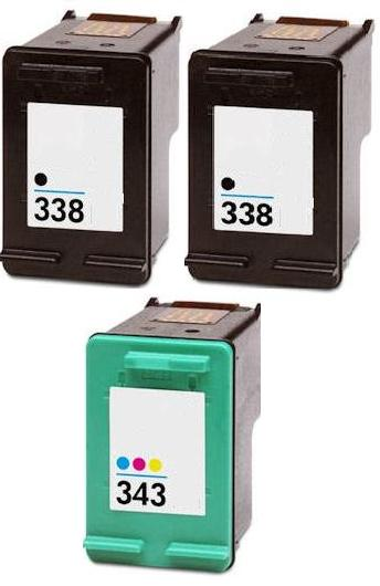 2 x Remanufactured HP 338 (C8765EE) High Capacity Black and 1 x Remanufactured HP 343 (C8766EE) High Capacity Colour Ink Cartridges