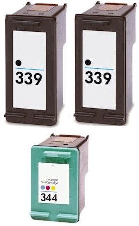 2 x Remanufactured HP 339 (C8767EE) High Capacity Black and 1 x Remanufactured HP 344 (C9363EE) High Capacity Colour Ink Cartridges