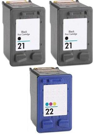 2 x Remanufactured HP 21 (C9351AE) High Capacity Black and 1 x Remanufactured HP 22 (C9352AE) High Capacity Colour Ink Cartridges