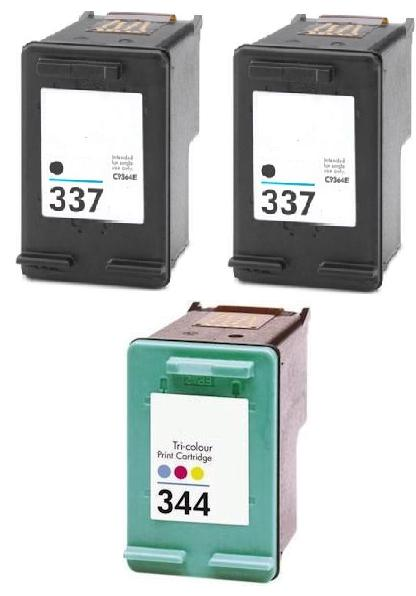 2 x  Remanufactured HP 337 (C9364EE) High Capacity Black and 1 x Remanufactured HP 344 (C9363EE) High Capacity Colour Ink Cartridges