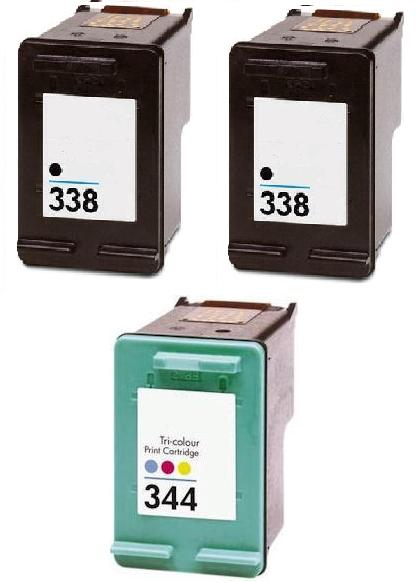 2 x Remanufactured HP 338 (C8765EE) High Capacity Black and 1 x Remanufactured HP 344 (C9363EE) High Capacity Colour Ink Cartridges