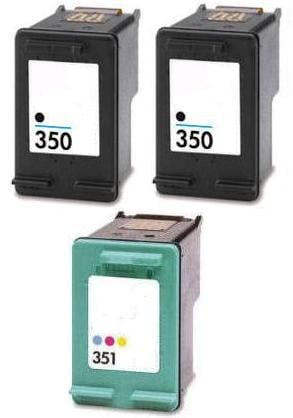 2 x Remanufactured HP 350 (CB335EE) & 1 x Remanufactured HP 351 (CB337EE) Black & Colour High Capacity Cartridges