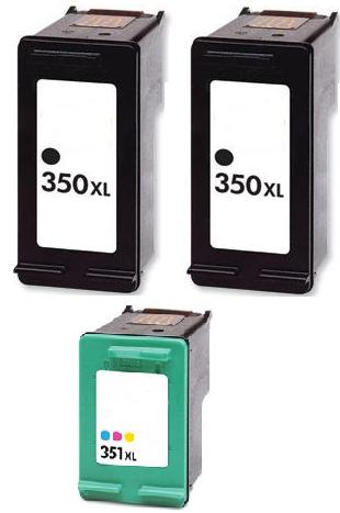 2 x Remanufactured HP 350XL (CB336EE) & 1 x 351XL (CB338EE) Black & Colour Cartridges