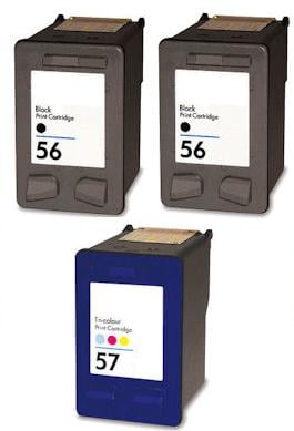 2 x Remanufactured HP 56 (C6656AE) High Capacity Black and 1 x Remanufactured HP 57 (C6657Ae) High Capacity Colour Ink Cartridges