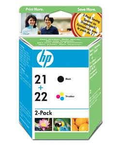 HP Original No. 21 and 22 Black and Colour Ink Cartridges Twin Pack