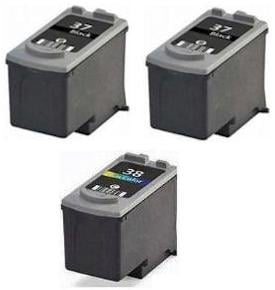 2 x Canon PG-37 and 1 x CL-38 Black and Colour Remanufactured Ink Cartridges