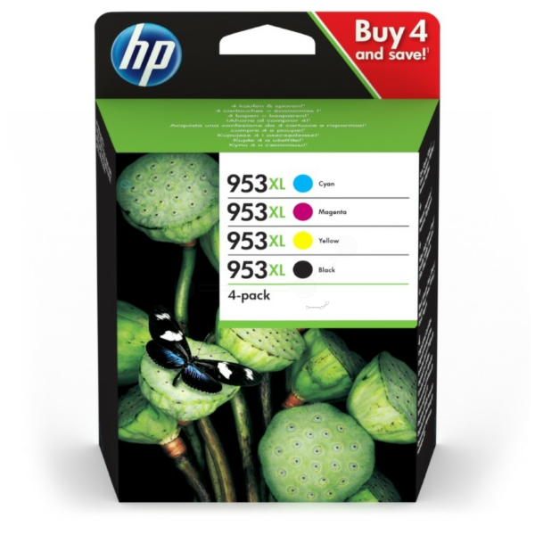HP Original 953XL Combo Pack of 4 Ink Cartridges - Black/Cyan/Magenta/Yellow