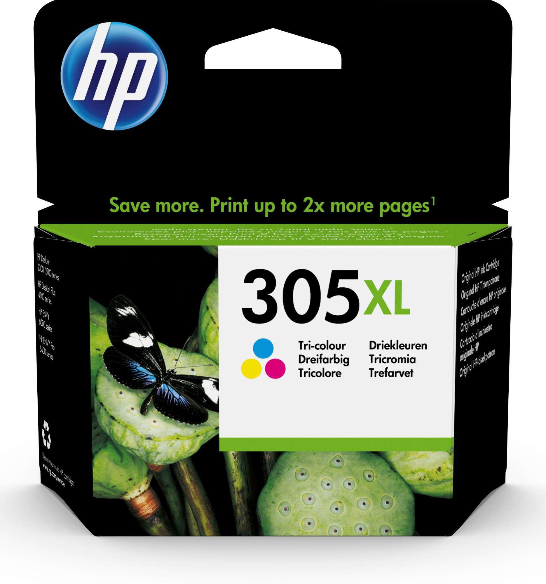 HP Original 305XL Tri-Colour High Capacity Inkjet Cartridge 3YM63AE