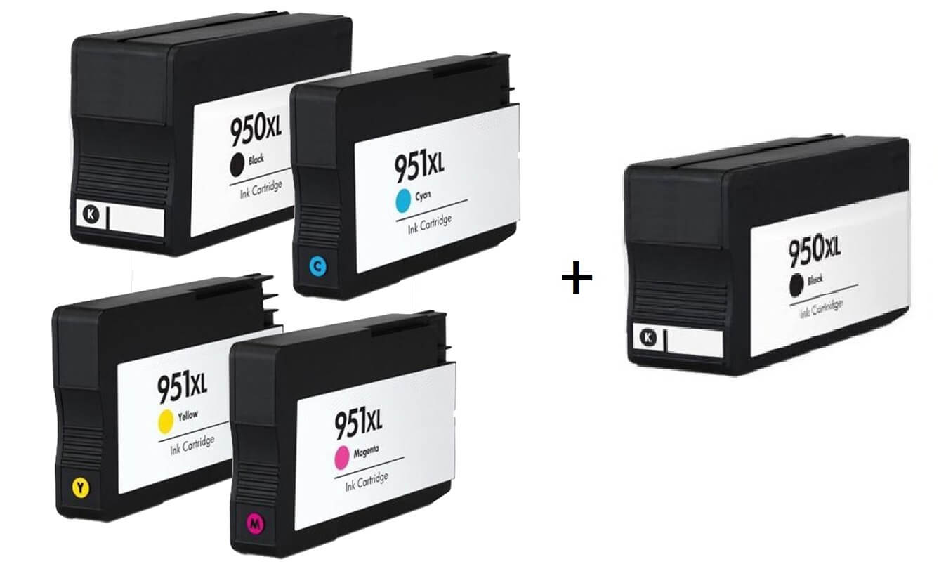 Compatible HP 950XL/951XL set of 4 Ink Cartridges + EXTRA BLACK  2 x Black 1 x /Cyan/Magenta/Yellow