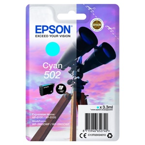 Original Epson 502 Cyan Inkjet Cartridge (C13T02V24010)