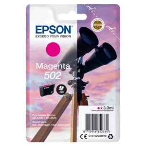 Original Epson 502 Magenta Inkjet Cartridge (C13T02V34010)