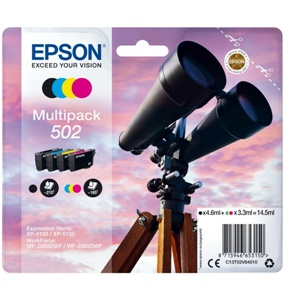 Original Epson 502 Four Colour Inkjet Cartridge Multipack (C13T02V64010)