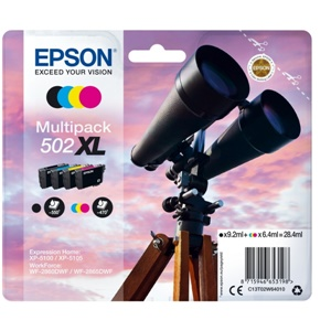 Original Epson 502XL Four Colour High Capacity Inkjet Cartridge Multipack (C13T02W64010)