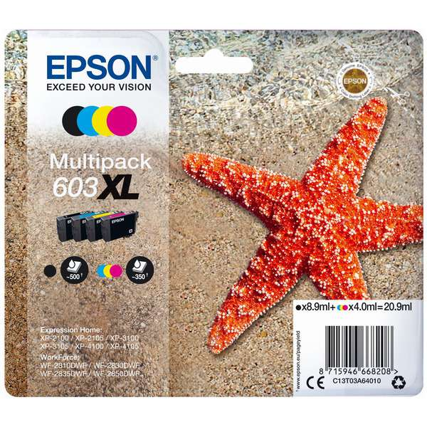 Epson Original 603XL High Capacity Ink Cartridge Multipack (Black/Cyan/Magenta/Yellow)