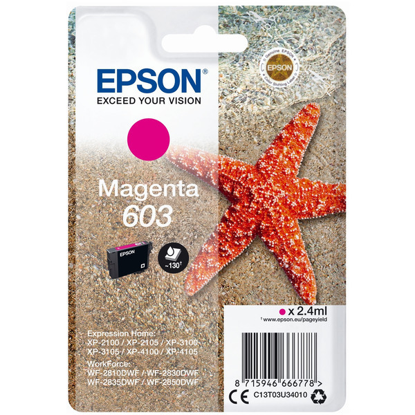 Epson Original 603 Magenta Ink Cartridge (C13T03U34010)