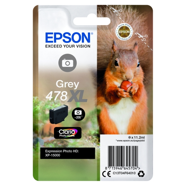 Epson Original 478XL Grey High Capacity Inkjet Cartridge (C13T04F64010)