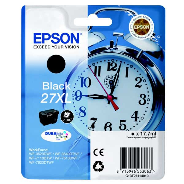 Original Epson 27XL Black High Capacity Ink Cartridge (C13T27114010)