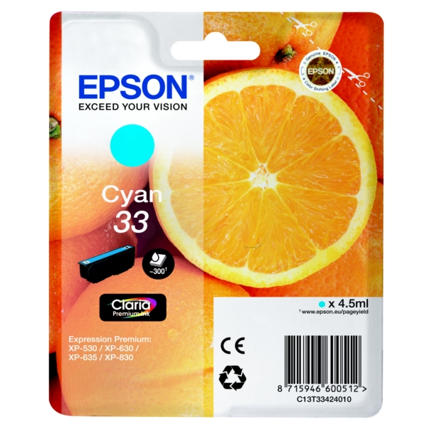 Epson Original 33 Cyan Ink Cartridge (T3342)