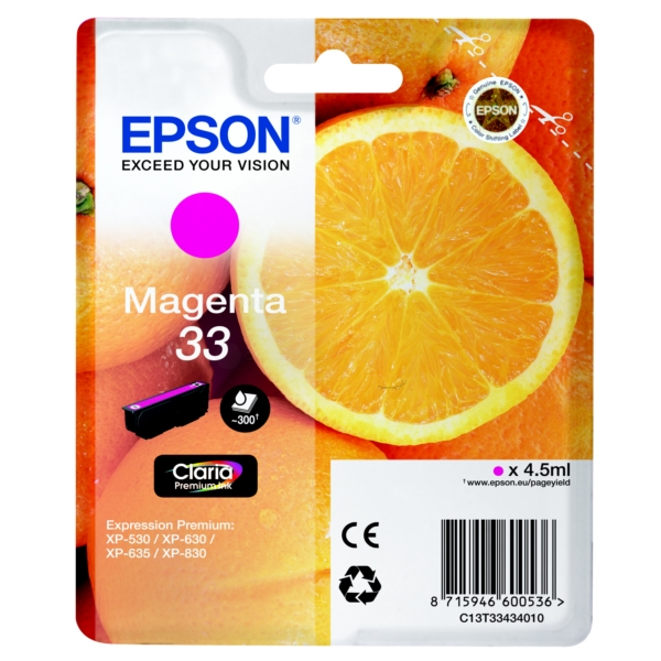 Epson Original 33 Magenta Ink Cartridge (T3343)