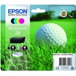 Original Epson 34 Colour Inkjet 4 Cartridge Multipack (C13T34664010)
