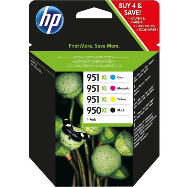 HP Original 950XL/951XL Combo Pack - Black/Cyan/Magenta/Yellow, 4-pack