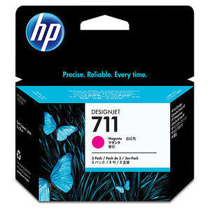Original HP 711 Set Of 3 Magenta Ink Cartridges