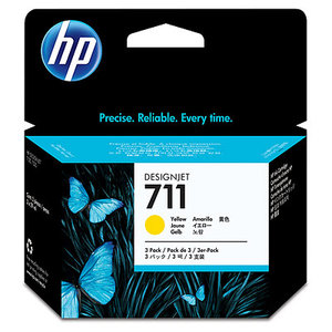 Original HP 711 Set Of 3 Yellow Ink Cartridges