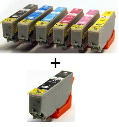 Compatible Epson 24XL High Capacity Ink Cartridges Full Set T2431/T2432/T2433/T2434/T2435/T2436 + EXTRA BLACK (2 x Black 1 x Cyan/Magenta/Yellow/Light Cyan/ Light Magenta)