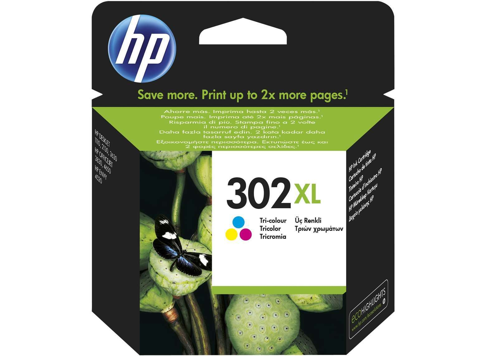 HP Original 302XL High Capacity Colour Ink Cartridge (F6U67AE)