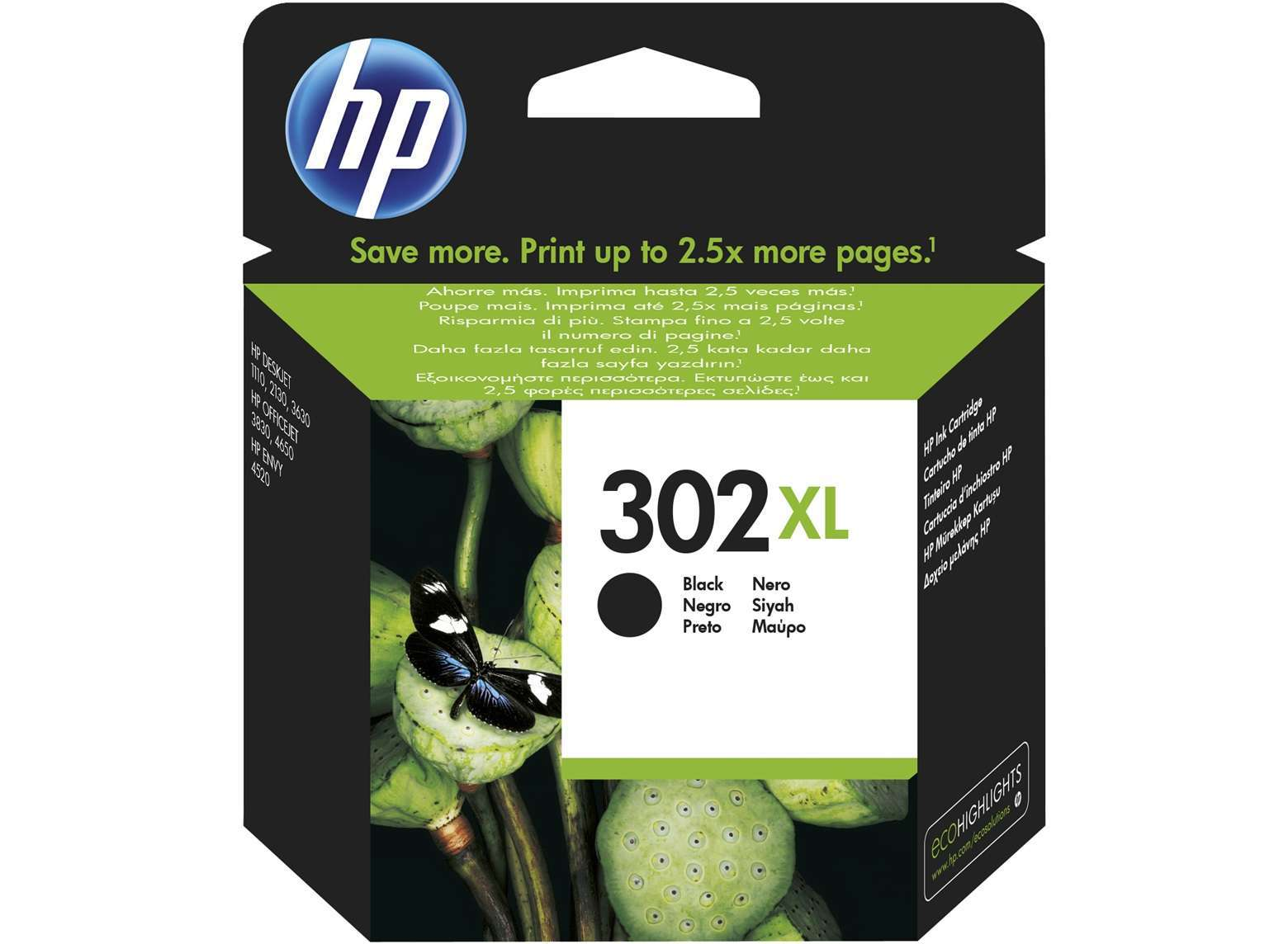 HP Original 302XL High Capacity Black Ink Cartridge (F6U68AE)