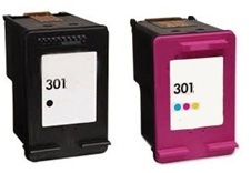Remanufactured HP 301 Black (CH561EE) & 301 Colour (CH562EE) High Capacity Ink Cartridges.