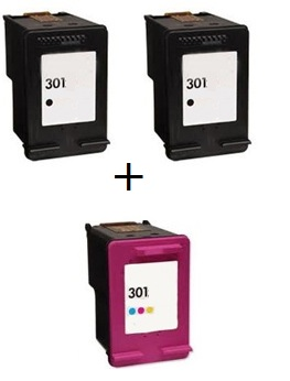 Remanufactured HP 301 Black (CH561EE) & 301 Colour (CH562EE) High Capacity Ink Cartridges + EXTRA BLACK