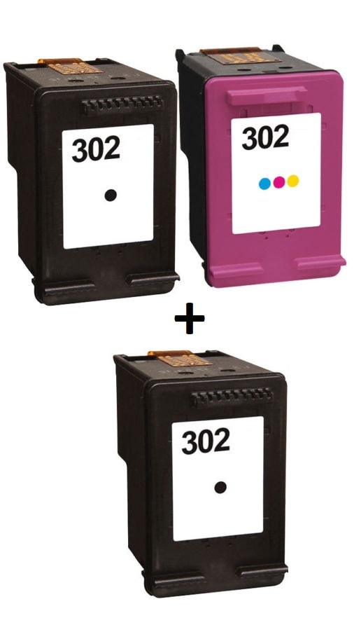 Remanufactured HP 302 Black (F6U66AE) & 302 Colour (F6U65AE) High Capacity Ink Cartridges + EXTRA BLACK