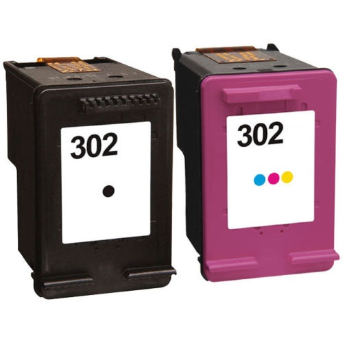 Remanufactured HP 302 Black (F6U66AE) & 302 Colour (F6U65AE) High Capacity Ink Cartridges