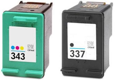Remanufactured HP 337 (C9364EE) High Capacity Black and HP 343 (C8766EE) High Capacity Colour Ink Cartridges