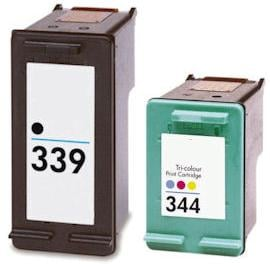 Remanufactured HP 339 (C8767EE) High Capacity Black and HP 344 (C9363EE) High Capacity Colour Ink Cartridges