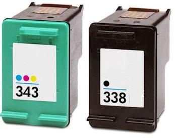 Remanufactured HP 338 (C8765EE) High Capacity Black and HP 343 (C8766EE) High Capacity Colour Ink Cartridges