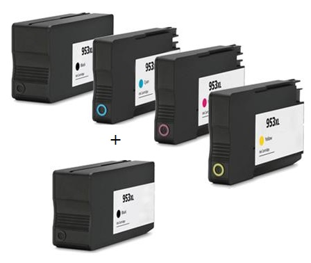 Compatible HP 953XL Full set of 4 Ink Cartridges + EXTRA BLACK  (2 x Black 1 x Cyan/Magenta/Yellow)