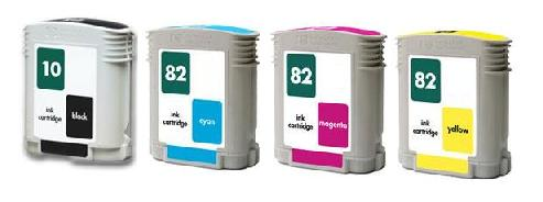 Compatible HP 10/82 Full Set of 4 Ink Cartridges (Black/Cyan/Magenta/Yellow)