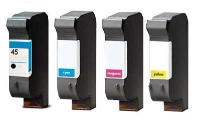Remanufactured HP 45/44 Full Set of 4 Cartridges (Black/Cyan/Magenta/Yellow)