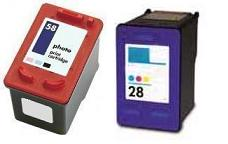 Remanufactured HP 28 (C8728AN) High Capacity Colour and HP 58 (C6658AE) High Capacity Photo Ink Cartridges