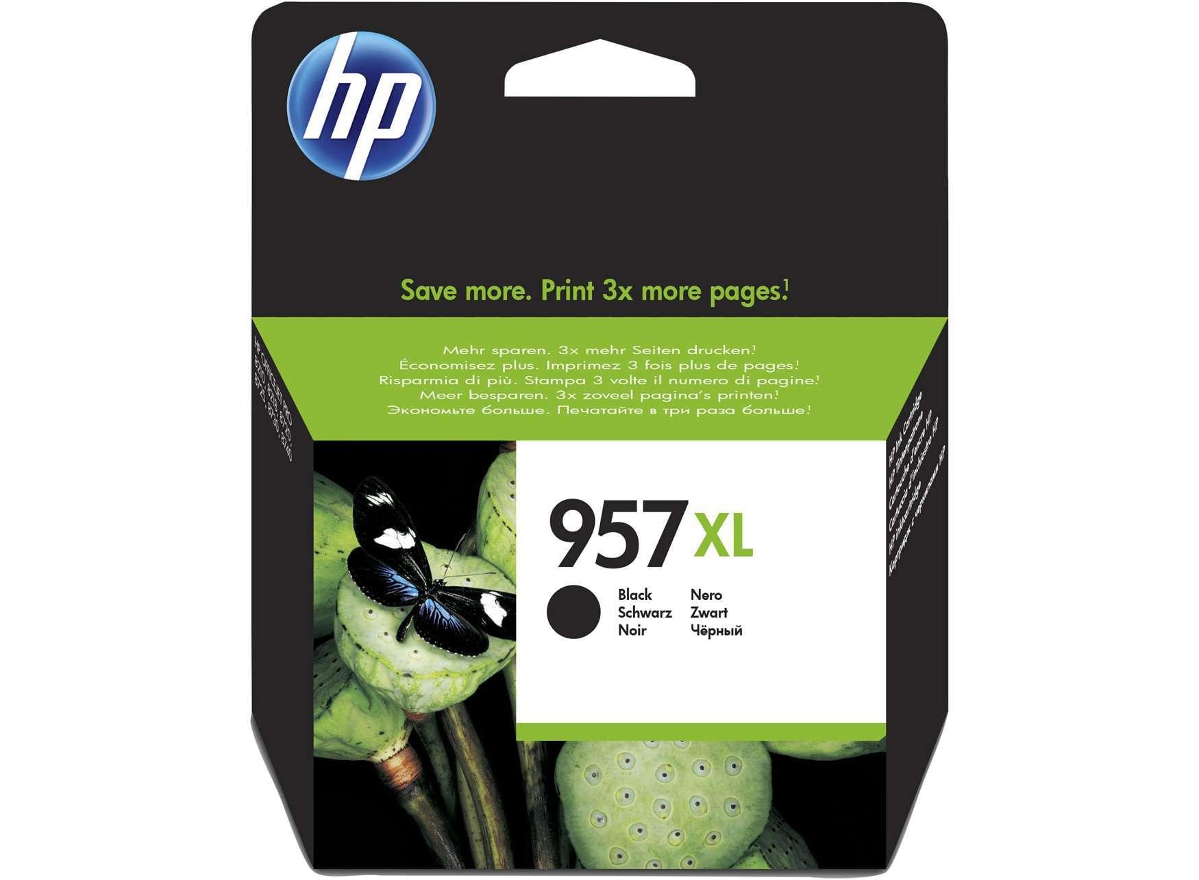 HP Original 957XL Black High Capacity Inkjet Cartridge (L0R40AE)