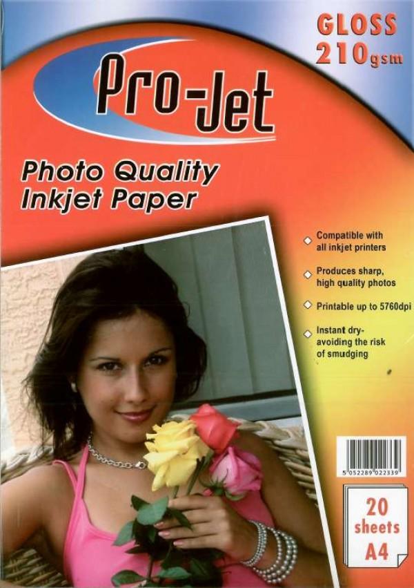 Pro-Jet A4 High Glossy Inkjet Paper 210g 20 sheets