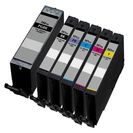 Canon PGI-580PGBKXXL / CLI-581BK/C/M/Y/PB XXL Compatible set of 6 Ink Cartridges (Black/Black/Cyan/Magenta/Yellow/Photo Blue)
