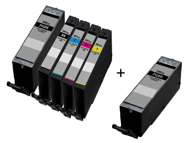 Canon PGI-580PGBKXXL / CLI-581BK/C/M/Y XXL Compatible set of 5 Ink Cartridges + EXTRA BLACK (2 X Black & 1 X Black/Cyan/Magenta/Yellow)