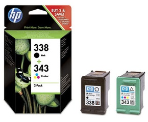 Original HP 338 Black and HP 343 Colour Ink Cartridge Multipack
